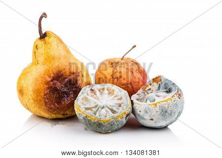 Rotten, Moldy And Decomposing Lemon, Apple, Pear On White Background