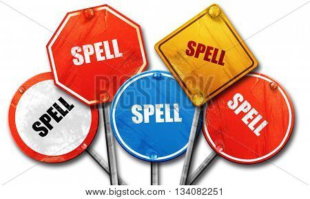spell, 3D rendering, rough street sign collection