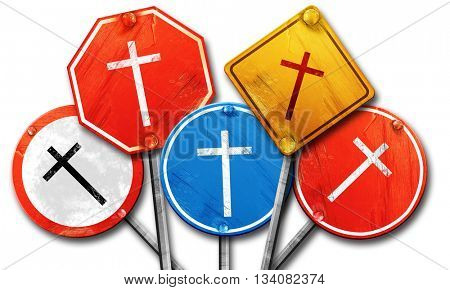 Christian cross icon, 3D rendering, rough street sign collection