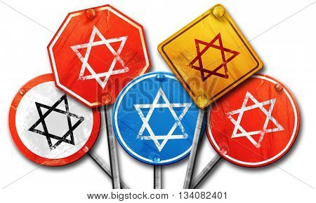 Star of david, 3D rendering, rough street sign collection