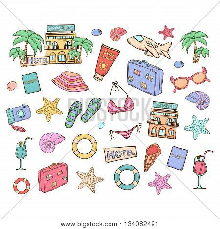 Summer vacation vector set.With themed elements design swimsuit, camera, ball, palm, cocktail, shell, lifebuoy bag hat sunscreen sunglasses starfish
