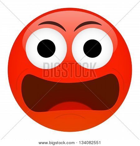 Angry frustration confusion emoticon. Bad emotion illustration.