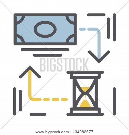 Time is money concept.Vector thin line money and hourglass icon isolated on a white background.Money concept