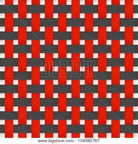 Texture illustration background. Interlacing paper fabric black and red tapes with drop shadows and bending elements.
