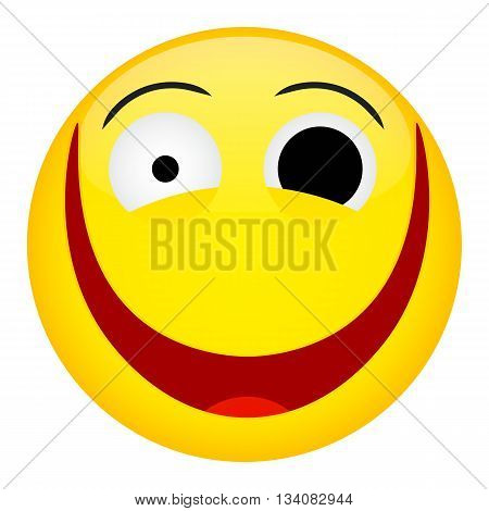 Crazy laugh and fun emotion. Emoji emoticon illustration.