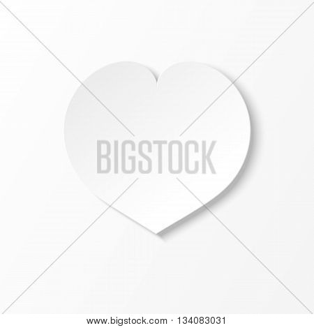 White paper heart on a white paper sheet. White-black illustration and icon.