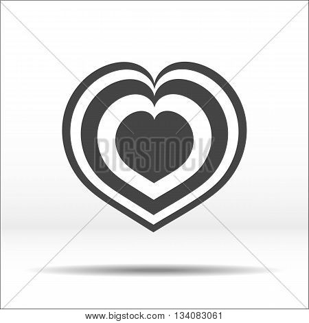 Laminated grey heart. White-black illustration and icon.