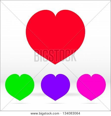 Monochrome color hearts. Color illustration and icon.
