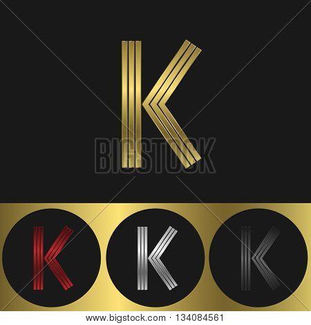 K Letter logo. Metal business emblem. Golden silver red and black colors