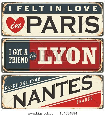 Retro tin sign collection with  French cities. Vintage vector souvenir sign or postcard templates. Travel theme.