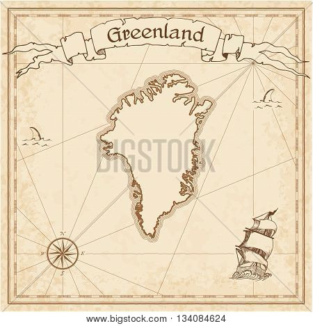 Greenland Old Treasure Map. Sepia Engraved Template Of Pirate Map. Stylized Pirate Map On Vintage Pa