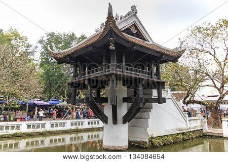 Hanoi Vietnam: February 23 2016: Tourists visiting the One Pillar Pagoda in Hanoi
