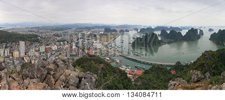 Panoramic view of Halong Bay Vietnam from above