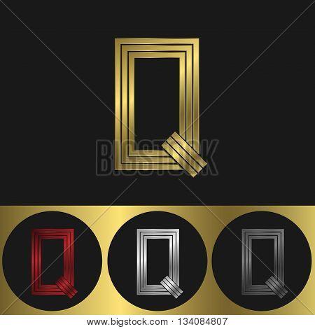 Q Letter logo. Metal business emblem. Golden silver red and black colors