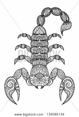 Clean lines doodle design of scorpion for tattoo, T-Shirt Graphic and adult coloring book -  Stock Vector