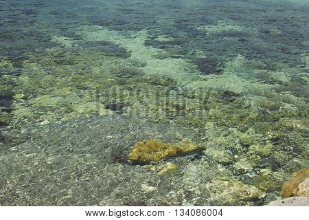 sunny summer sea for vacation water and seabed