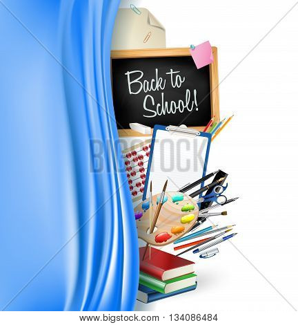 little blackboard border with notepad sheets color pencils pens rulerart palette pile of books and silky curtain. back to school vector background