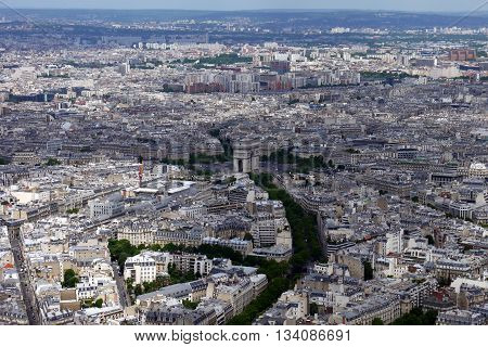View from the Eiffel Tower looking North towards the Arc de Triomphe, Paris, France