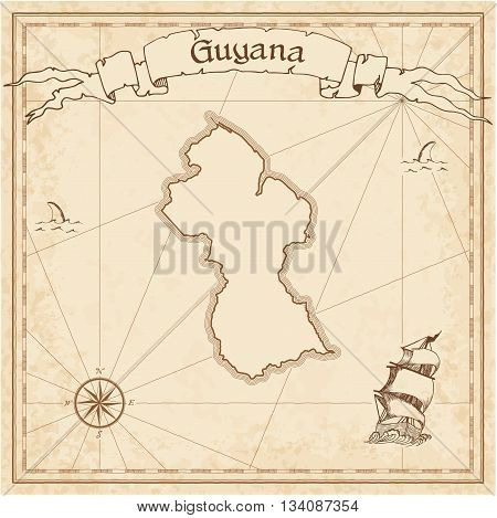 Guyana Old Treasure Map. Sepia Engraved Template Of Pirate Map. Stylized Pirate Map On Vintage Paper