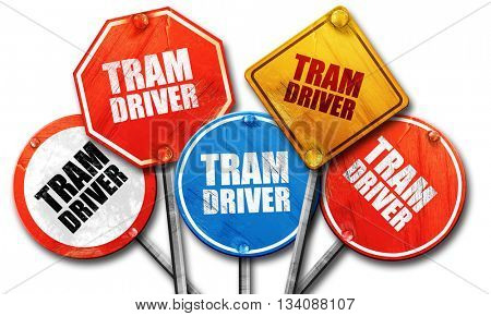 tram driver, 3D rendering, rough street sign collection