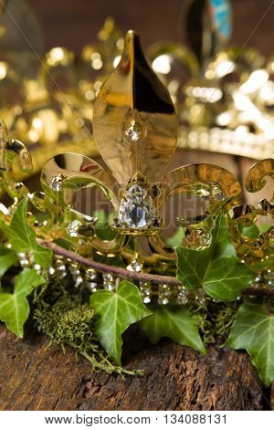 Royal display of a medieval golden crown on wood, ivy and moss