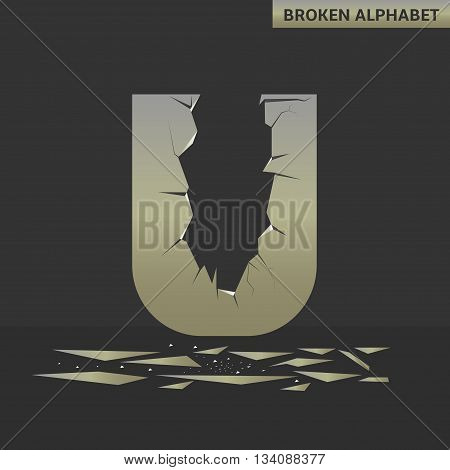 Broken U letter. Mirror alphabet with cracks
