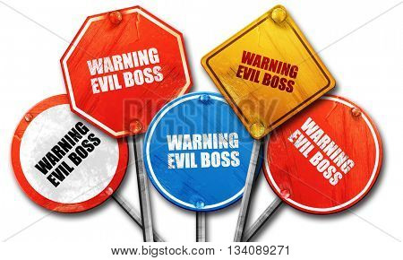warning evil boss, 3D rendering, rough street sign collection