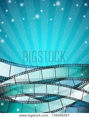 vertical cinema background with film strips over blue background with stripes and glittering particles. vector illustration