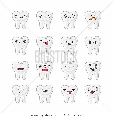 Set of cute teeth. Vector icons on a white background. Concept of medicine and health. Children's dentistry.