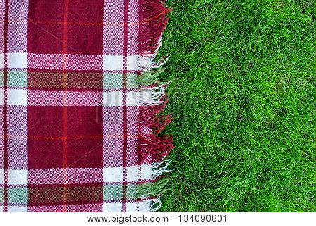 Checkered Plaid Picnic Green Grass Background
