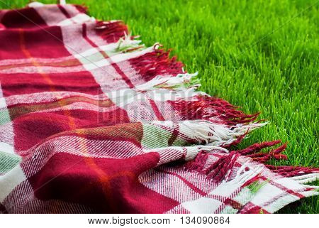 Checkered Plaid Picnic Green Grass Summer Time