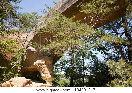 Sky Bridge is a sandstone arch in the Red River Gorge State Park in Kentucky.