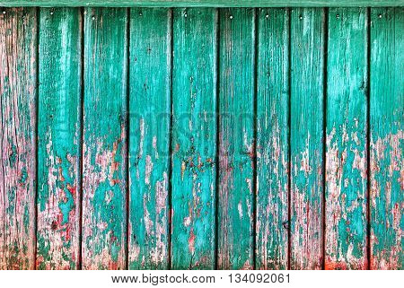 Shabby Turquoise Wooden Vertical Planks with cracked color paint Wood background
