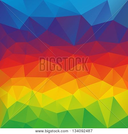 vector abstract irregular polygon background with a triangular pattern in full color spectrum colors - horizontal rainbow