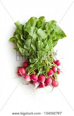 Bunch of fresh radishes. Fresh radishes isolated on white background.