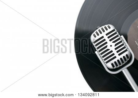 vintage a and vinyl record on white background