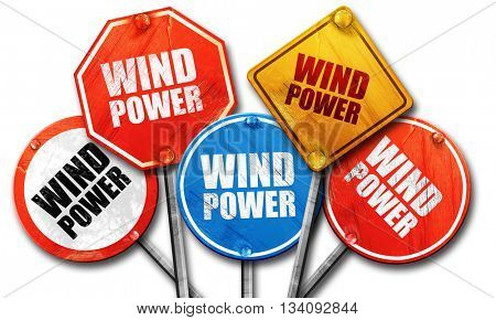 wind power, 3D rendering, rough street sign collection