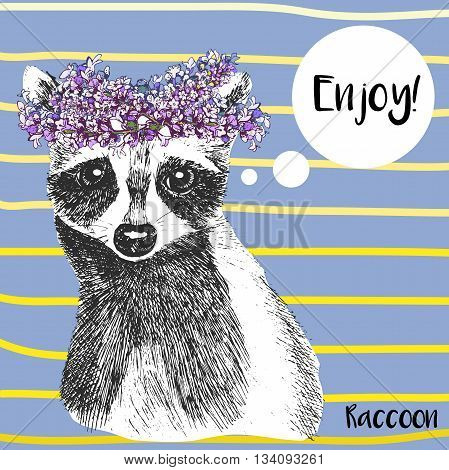 Vector close up portrait of raccoon in lavender floral wreath. Hand drawn wild mammal animal illustration. Isolated on Serenity background with yellow strips.