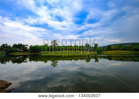 Thailand lake reflection, lake reflection of clouds.