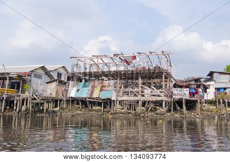 Shacks On The Chao Phraya River In Bangkok