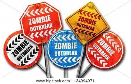 zombie virus concept background, 3D rendering, rough street sign