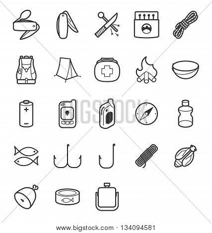 line icon set for camp survivals theme