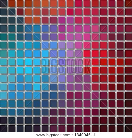 pixel graphics background - little squares with shadow - full color spectrum rainbow colored