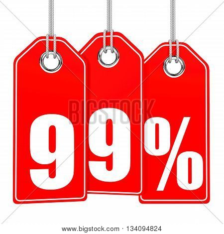 Discount 99 Percent Off. 3D Illustration.
