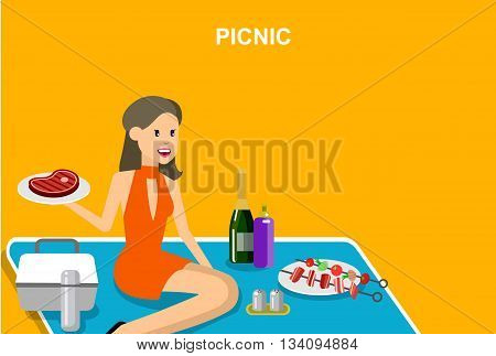 Vector character women men on  picnic or Bbq party. Food and barbeque, summer picnic . Vector picnic party, illustration picnic