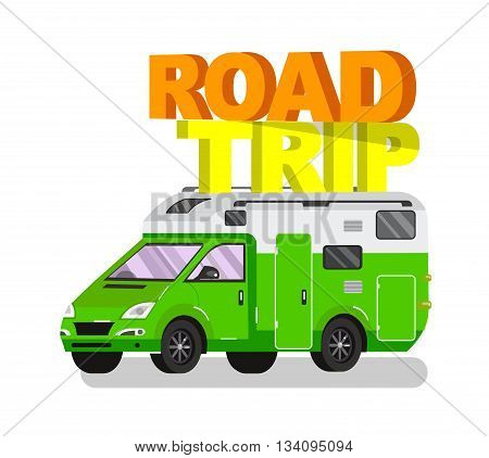 Travel van flat  icon with long shadows. Travel car and motorhome. Vector detailed mobile home. Road trip poster. Travel car vector