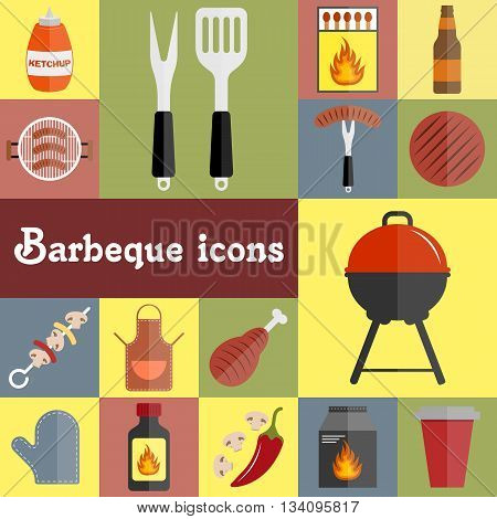 Barbeque icons set. Barbeque picnic flat icons set