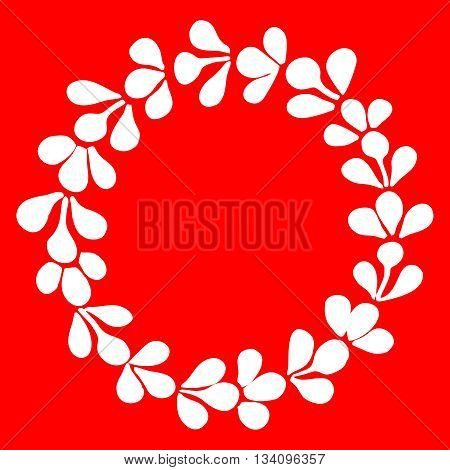 White laurel wreath vector frame on red background