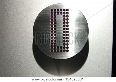 Modern Hotel room door with number zero