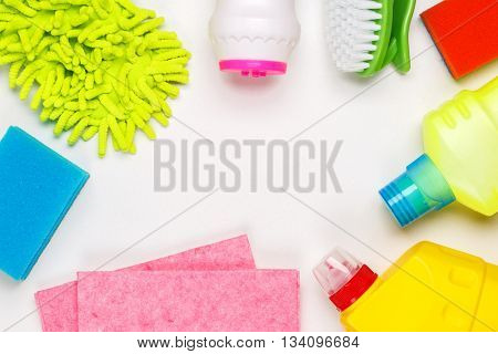 House cleaning products on white table